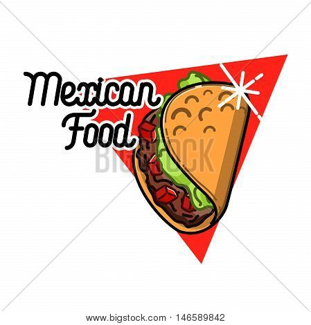 Color vintage mexican food emblem. Badges, labels, logotype for Mexican food. Mexican vector logo design template