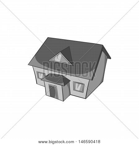 Large house with attic icon in black monochrome style isolated on white background. Building symbol vector illustration