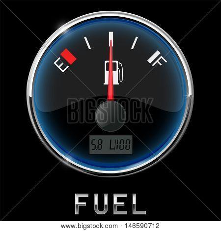 Fuel gauge. Half tank. Vector illustration on black