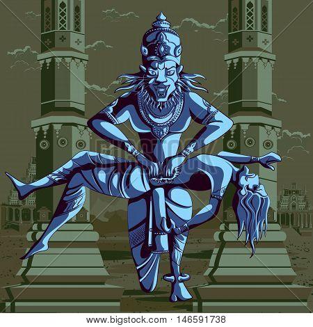 Indian God Narasimha killing Hiranyakashipu. Vector illustration