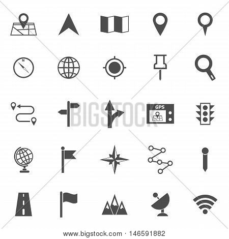 Navigation icons on white background, stock vector