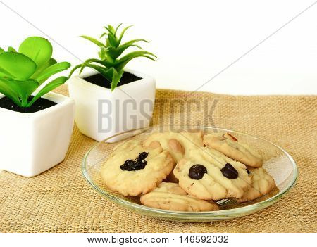 Chocolate chip cookie on brown colored cloth on whit background