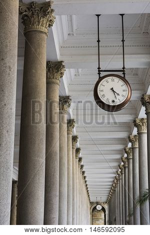 Clock in Mill colonnade (Mlynska kolonada) in Karlovy Vary. Czech Republic