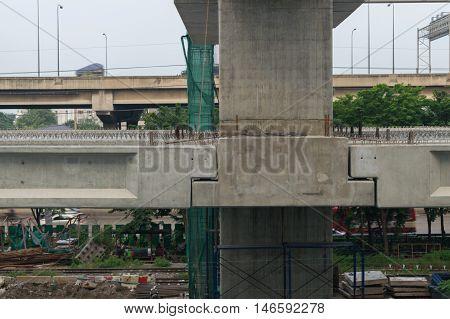 Construction Site Of Sky Train Redline Bangsue-rangsit