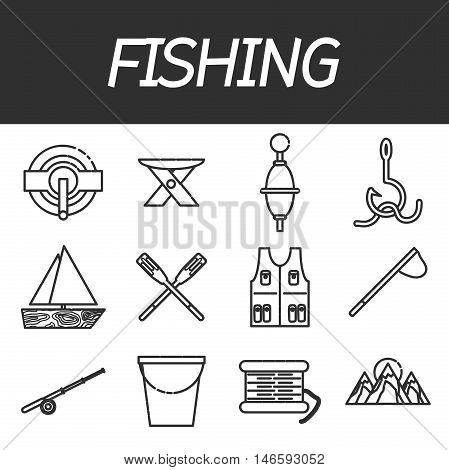 Fishing icon set. Vector illustration EPS 10