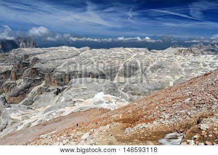 Mesules plateau from Piz Boe Sella group Italian Dolomites