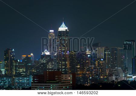 Nighttime And Transportation In Bangkok City Thailand