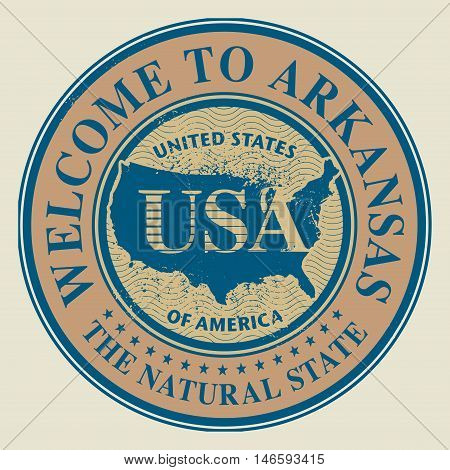Grunge rubber stamp with text Welcome to Arkansas, vector illustration