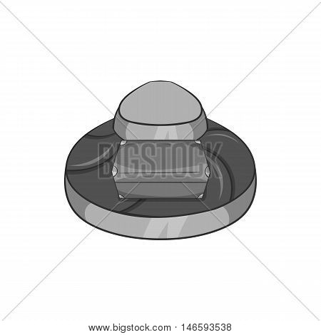 Luggage conveyer at the airport icon in black monochrome style isolated on white background. Check symbol vector illustration