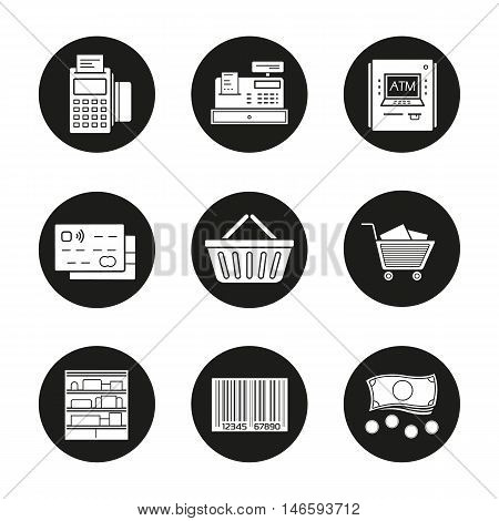 Supermarket icons set. Grocery store. Pos terminal, cash register, atm machine, credit card, shopping basket and cart, shop shelves, barcode, cash. Vector white illustrations in black circles