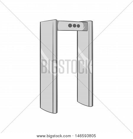 Check on metal detector icon in black monochrome style isolated on white background. Airport symbol vector illustration