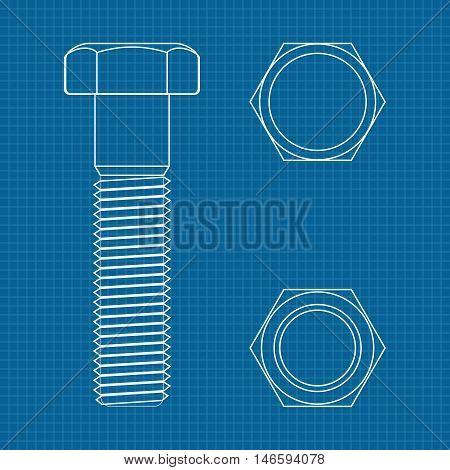 Screw bolt. Vector illustration on blueprint background