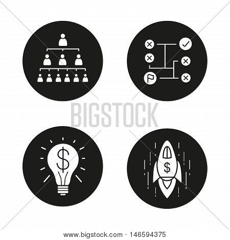 Business concepts icons set. Company hierarchy, problems solving, successful idea, logistics, startup, goal achievement spaceship symbol. Vector white illustrations in black circles