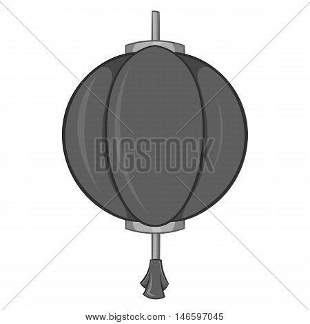 Paper lantern icon in black monochrome style isolated on white background. Decoration symbol vector illustration