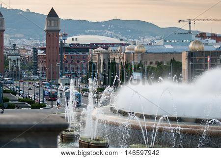 JUNE 17 2011 - BARCELONA SPAIN: Magic Fountain of Montjuic and Plaza de Espana at evening