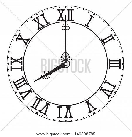 Vintage Roman numeral clock. Vector illustration isolated on white background