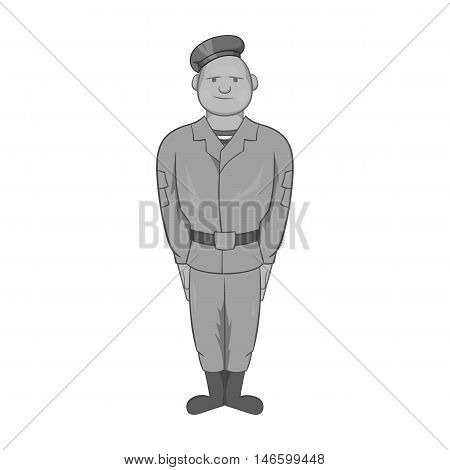 Paratrooper icon in black monochrome style isolated on white background. Military symbol vector illustration
