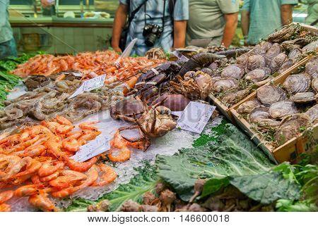 Seafood and fish at La Boqueria market in Barcelona.