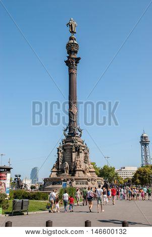 JUNE 14 2011 - BARCELONA SPAIN: Columbus monument and tourist in Barcelona. Spain