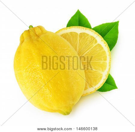 Isolated Cut Lemon Fruits With Leaves