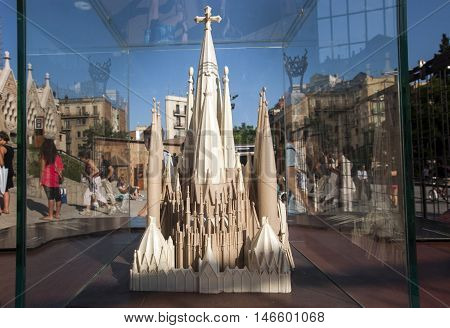 JUNE 15 2011 - BARCELONA SPAIN: The model of La Sagrada Familia Cathedral in Barcelona