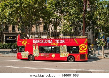 JUNE 16 2011 - BARCELONA SPAIN: Tourist bus in Barcelona
