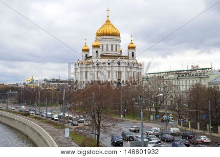 MOSCOW, RUSSIA - APRIL 14, 2015: A view on the Cathedral of Christ the Savior, cloudy april day. Historical landmark of the city Moscow