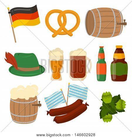 Set of German Oktoberfest vector sausage bavarian design elements isolated on white background. Beer Oktoberfest German festival keg of beer, bottle beer. Wurst german flag and pretzel.