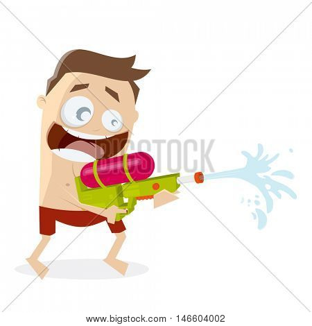 funny cartoon man shooting with a water gun