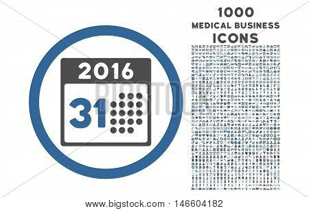 Last 2016 Month Day rounded vector bicolor icon with 1000 medical business icons. Set style is flat pictograms, cobalt and gray colors, white background.