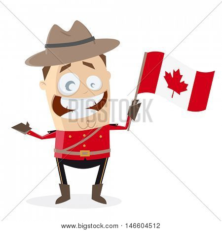 funny mountie with canadian flag