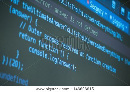 java program code on projector screen at programming class