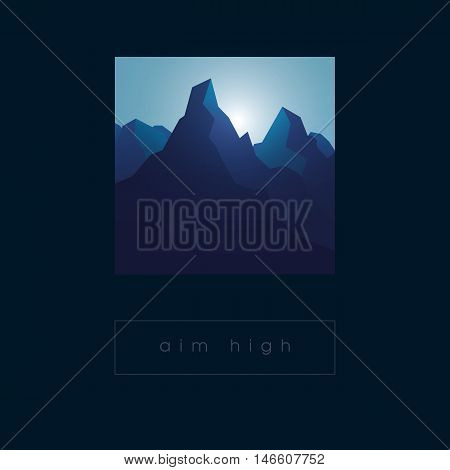 Rocky mountain vector illustration in sunrise atmosphere. Nature landscape graphic design with realistic shadows. Eps10 vector illustration