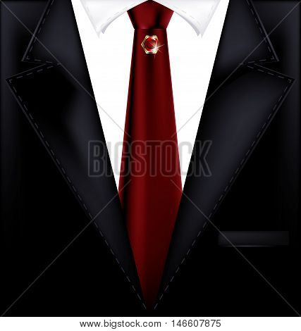 abstract dark male costume with red tie and jewelry pin