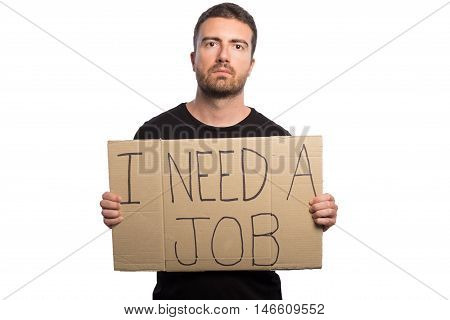 Unemployed Man Holding A Cardboard Isolated On White Background