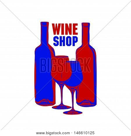 The blue and red bottles and glasses of wine on a white background. Illustration in vintage style. It can be used as an advertisement for a wine store.