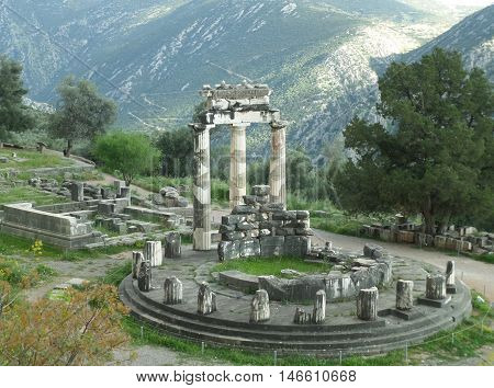Stunning View of the Sanctuary of Athena Pronaia on the Mountainside, Delphi, Greece