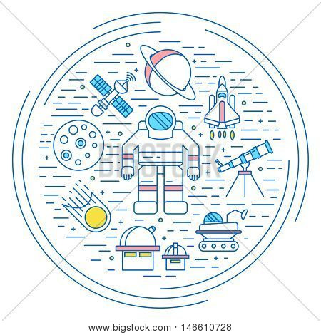 Space universe concept in line style with a few isolated icon in one big circle vector illustration