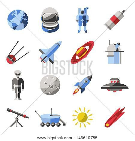 Space colored icon set with space inhabitants means of transportation and equipments vector illustration