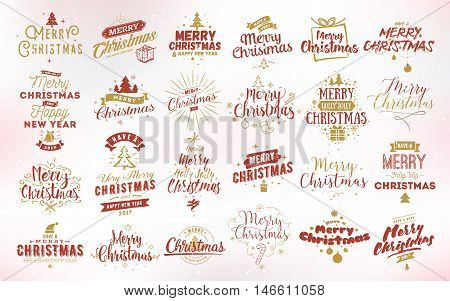Merry Christmas and Happy New Year 2017 typographic emblems set. Vector logo, text design. Usable for banners, greeting cards, gifts etc.