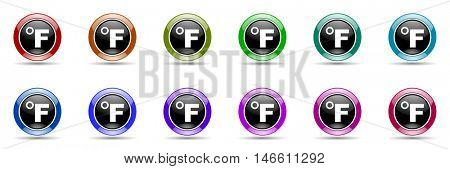 fahrenheit round glossy colorful web icon set