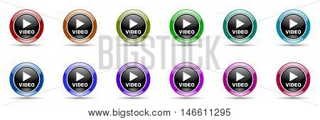 video round glossy colorful web icon set