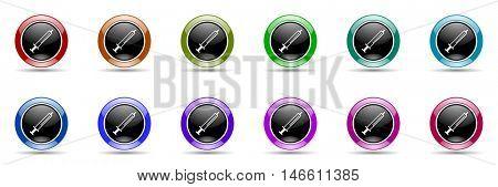 medicine round glossy colorful web icon set