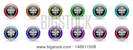 winter sale round glossy colorful web icon set