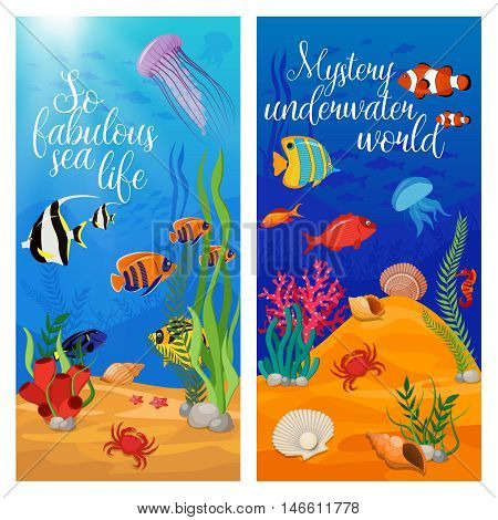 Two vertical sea life animals plants banner set with fish and titles vector illustration