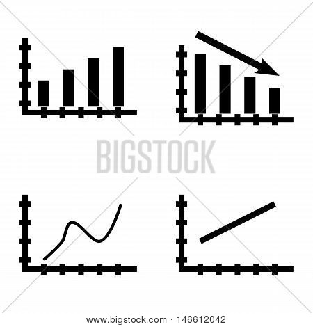 Set Of Statistics Icons On Bar Chart, Line Chart And Curved Line. Statistics Vector Icons For App, W