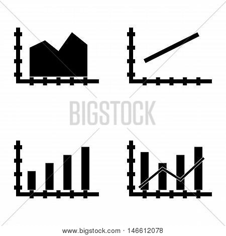 Set Of Statistics Icons On Bar Chart, Line Chart And Dynamics Grid. Statistics Vector Icons For App,