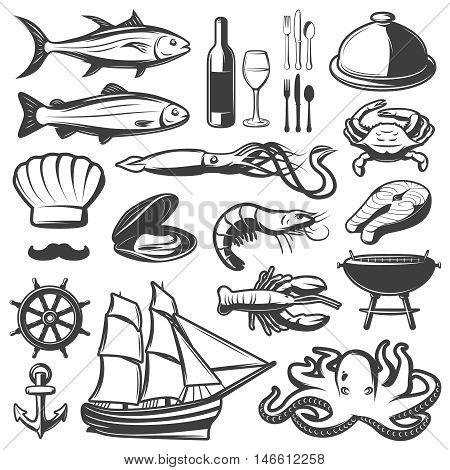 Seafood icon set with fish and vine which are prepared in restaurant vector illustration