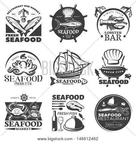 Black seafood emblem set with restaurant and market fresh seafood highest quality seafood fresh fish descriptions vector illustration