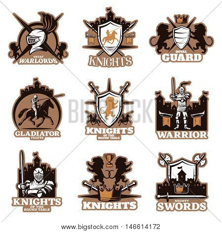 Knights colored emblems with shield and crossed weapon royal symbols armed fighters ancient castles isolated vector illustration